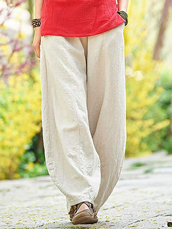 CASUAL SOLID LINEN & COTTON BOTTOMS