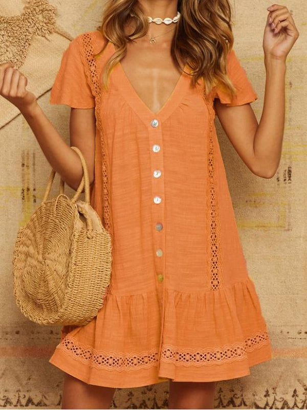 Women Sweet V-neck Linen Casual Dresses