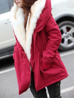 Casual Long Sleeve Thick Solid Color Hooded Women's Overcoat