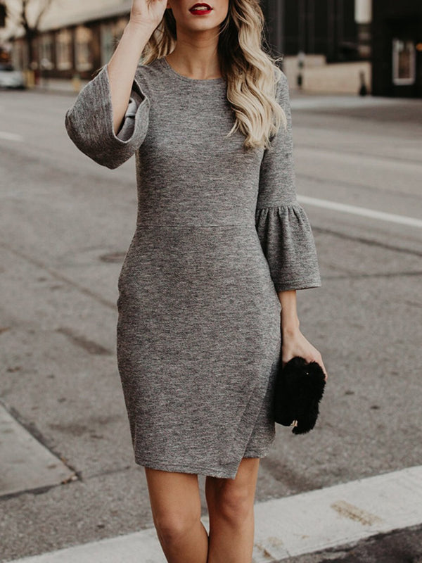 Gray Women Round Collar Three Quarter Sleeve Slim Pencil Dress Casual Knit Dresses