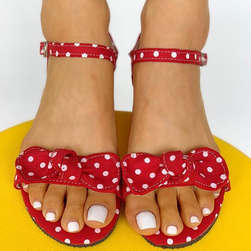 Women's Dot Bowknot Design Open Toe Flat Sandals
