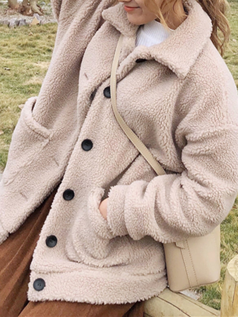 Women Khaki Plus Size Long Sleeve Lapel Buttoned Fluffy Coats