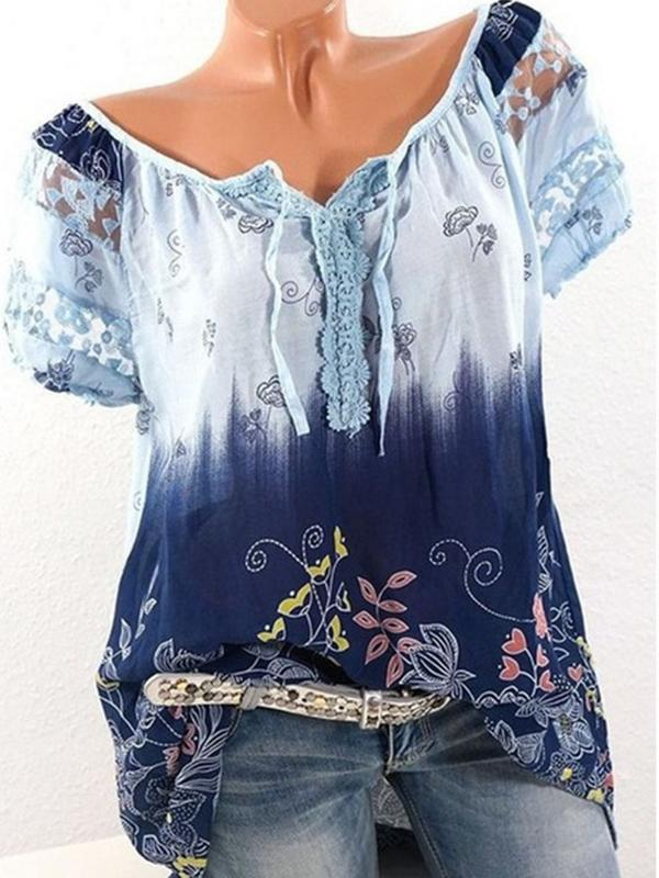 Floral Print Lace Short Sleeve T-Shirts For Women