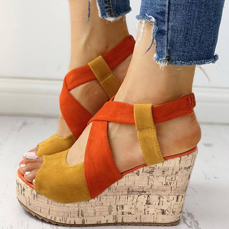 Women Peep Toe Colorblock Platform Wedge Sandals
