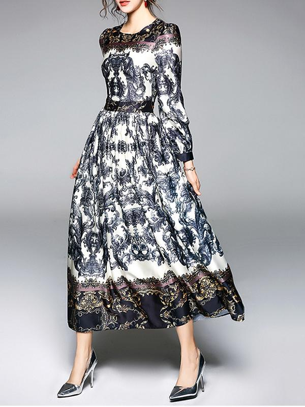 Women Flowers Print Retro Dress Long Maxi Dress
