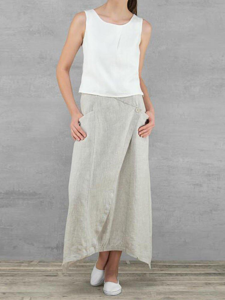 Vintage Plain Linen Pockets Buttoned Loose Skirt