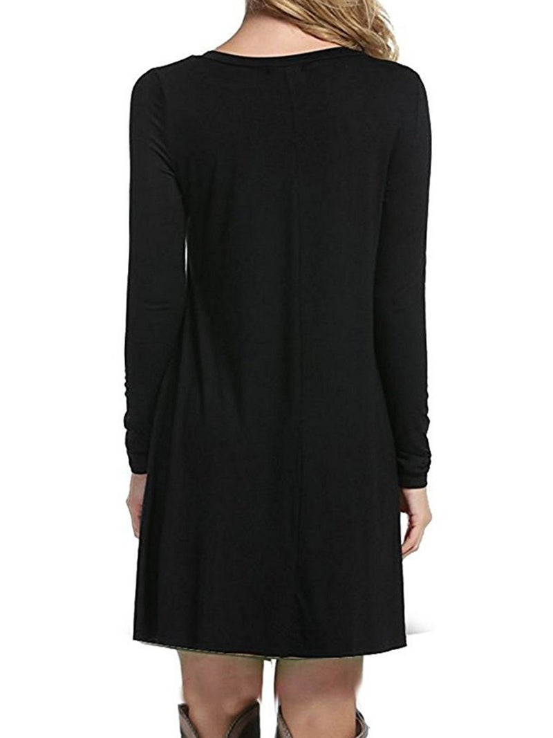 Women Long Sleeve Crew Neck Casual Solid Dress