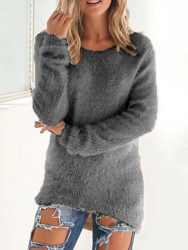 Women Casual Paneled Crew Neck Winter Sweater