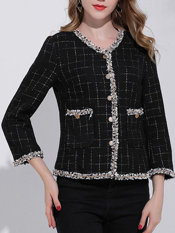 Women V-neck Long Sleeve Short Jacket Coat