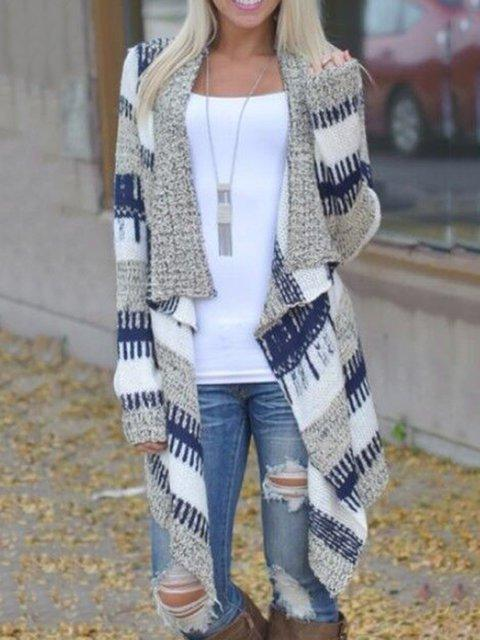 Women Blue Stripes Long Sleeve Asymmetric Kimono