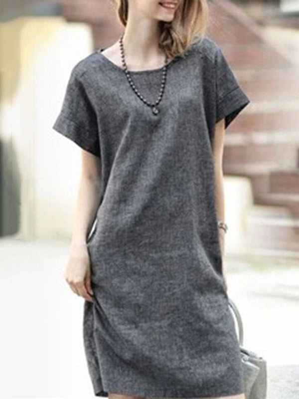 GRAY A-LINE LINEN CASUAL CREW NECK PLUS SIZE MIDI DRESS