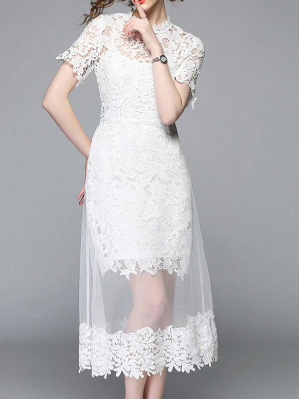 Women Elegant White Short Lace Spliced Dress Two-pieces Outfits