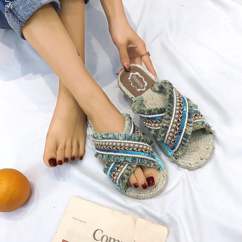 Beaded Tassel Design Casual Sandals Women's Slides Slipper