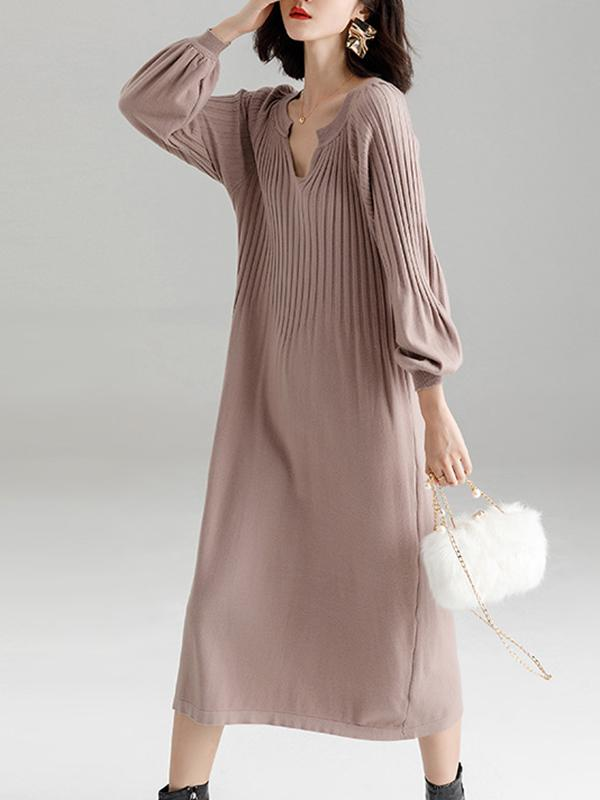 Women Elegant V Neck Loose Knit Dresses
