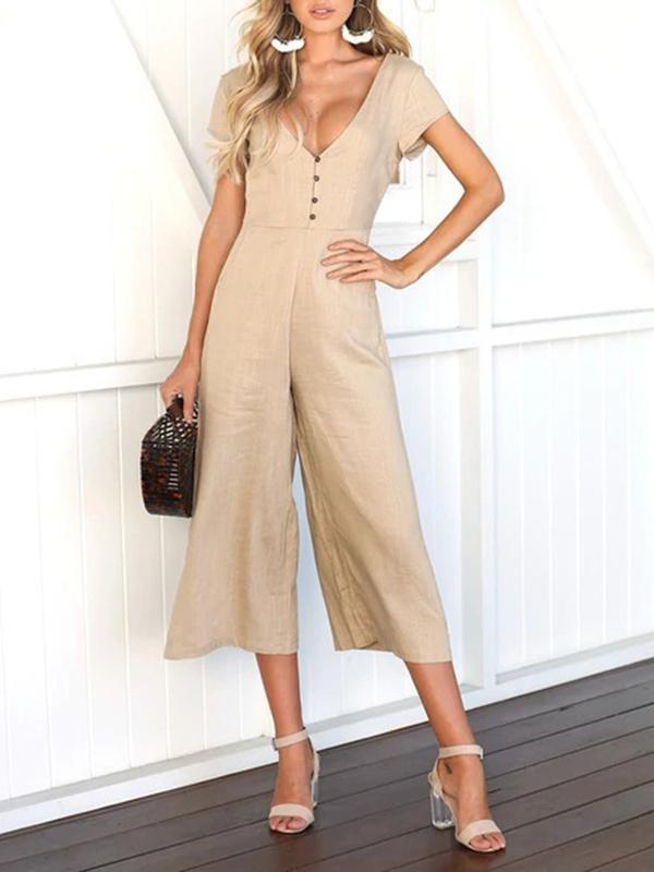 Women Casual Solid Double V Wide Leg Jumpsuits