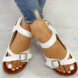 Women Vintage Open Toe Buckled Flat Sandals
