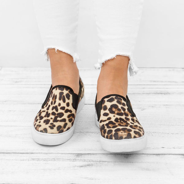 Women's Loafers Casual Flat Heel Leopard Round Toe Loafers