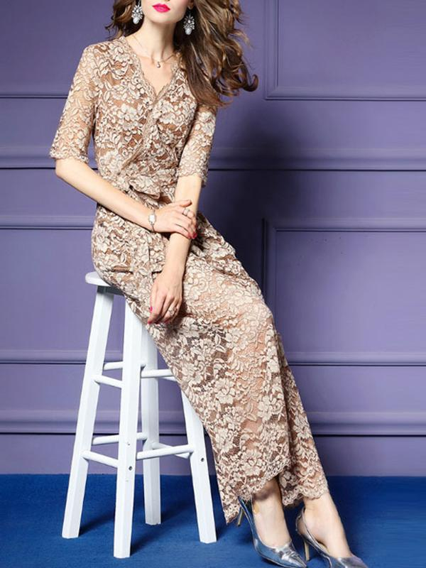 Women Sexy V-neck Lace Jumpsuit Long Trumpet Trouser Pants