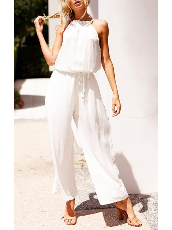 White Women Sleeveless Elastic Waist Jumpsuit Loose Trousers