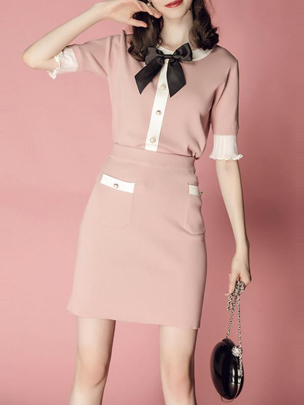 Women  Elegant Butterfly Collar Knitted Top and Slim Skirt Two Piece Set Outfits