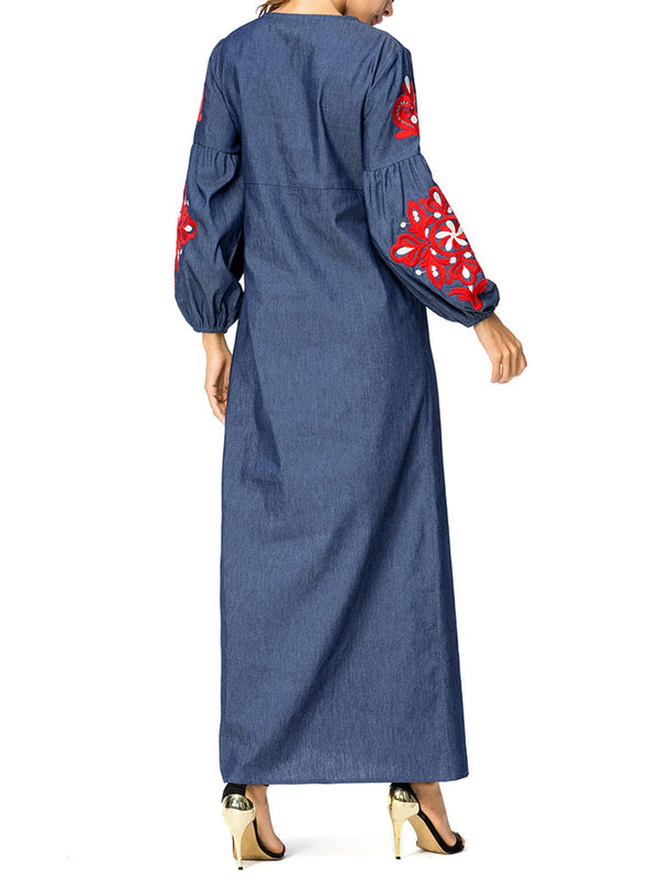 Women Vintage Denim Long Maxi Dress Embroidered Dresses