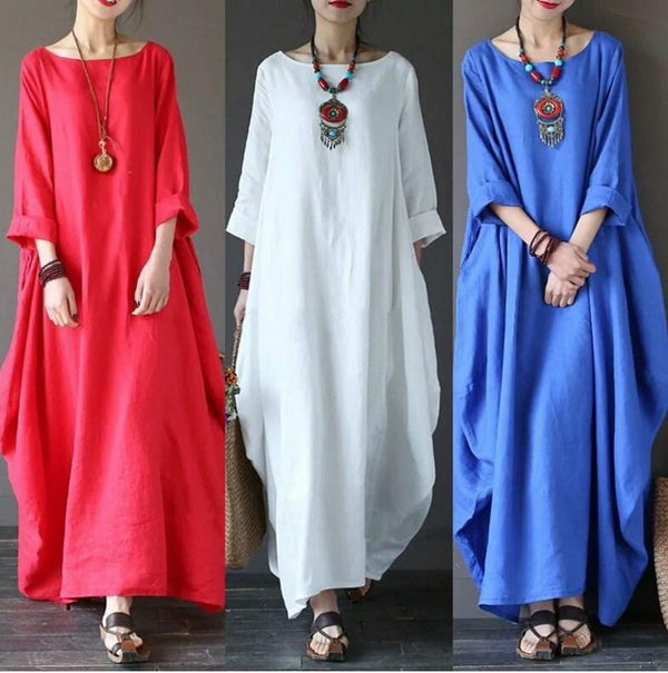Women Round Neck Pocket Casual Linen Maxi Dress