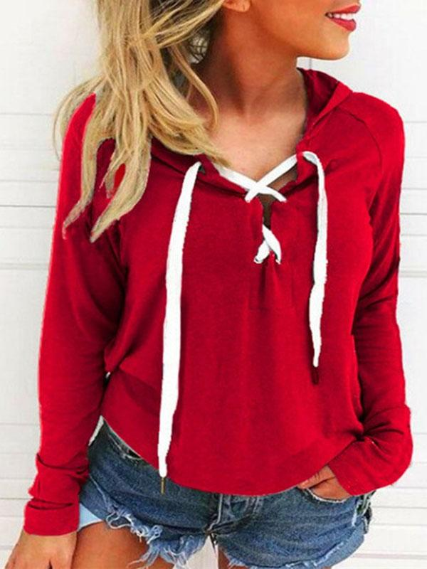 Women Casual Long Sleeve Sexy Bandage Hoodies Plus Size