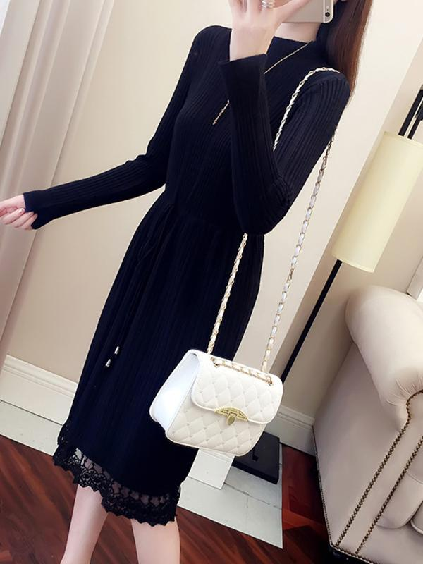 Autumn Winter Women Solid Long Sleeve Lace Spliced Sweater Dress