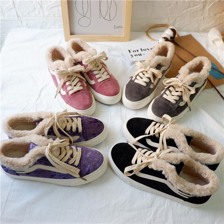 Women Flat-bottomed Shoes with Fluff and Warmth