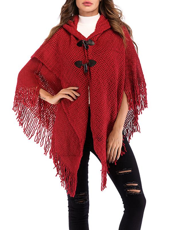 Women Loose Hooded  Poncho Cape Coats With Tassels