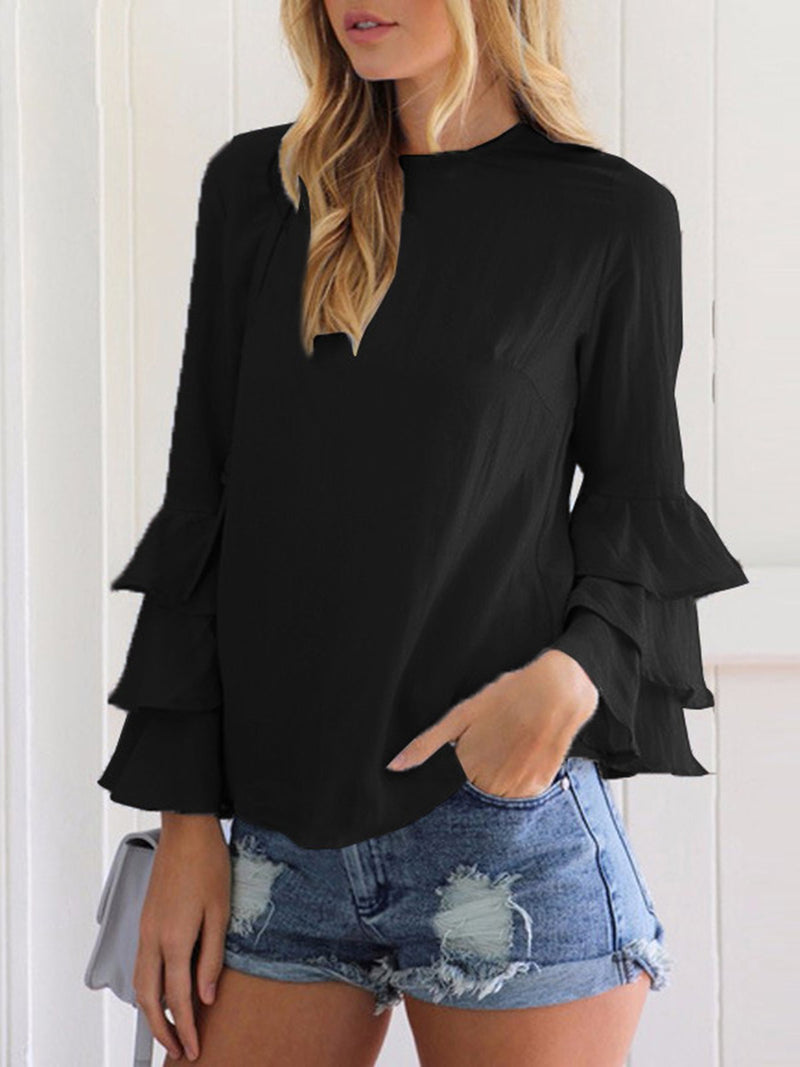 Women Plus Size Ruffled Long Sleeve Casual Crew Neck Blouse