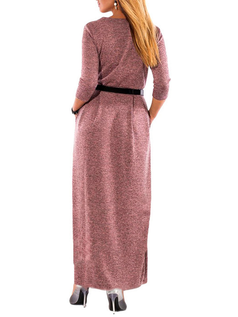 Oversized Women Daily Casual Long Sleeve High Waist Maxi Long Dress with Waist Belt