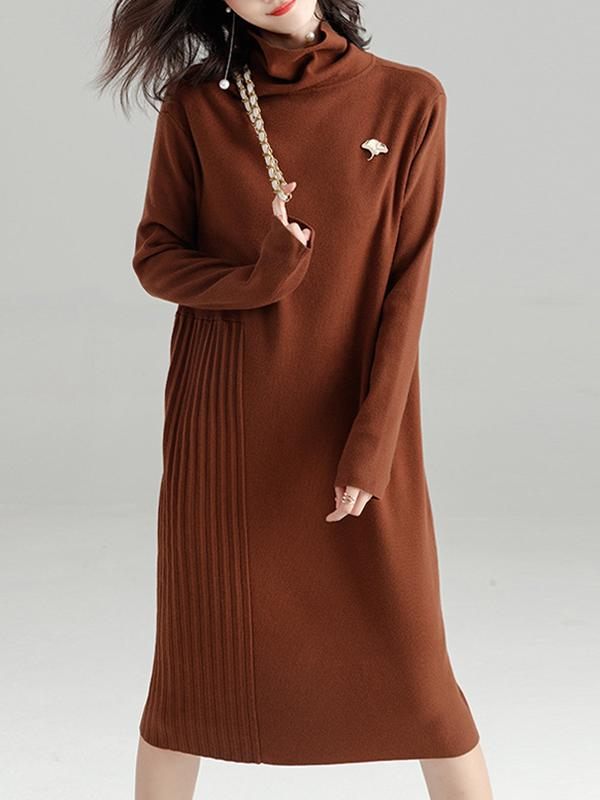 Women Plain Turtleneck Sweater Dress Loose Dress