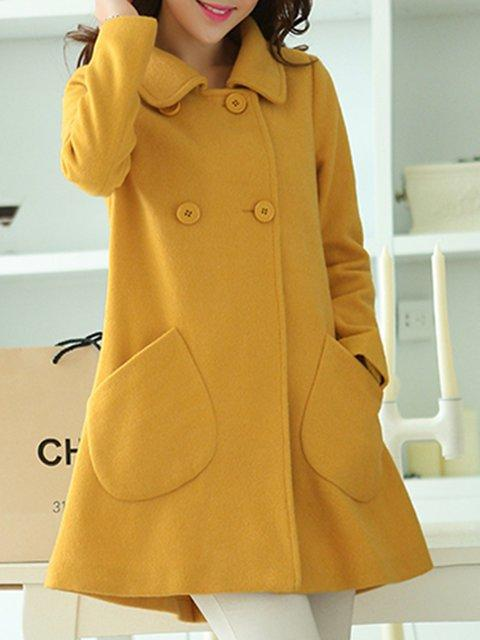 Women Yellow Buttoned Long Sleeve Coat