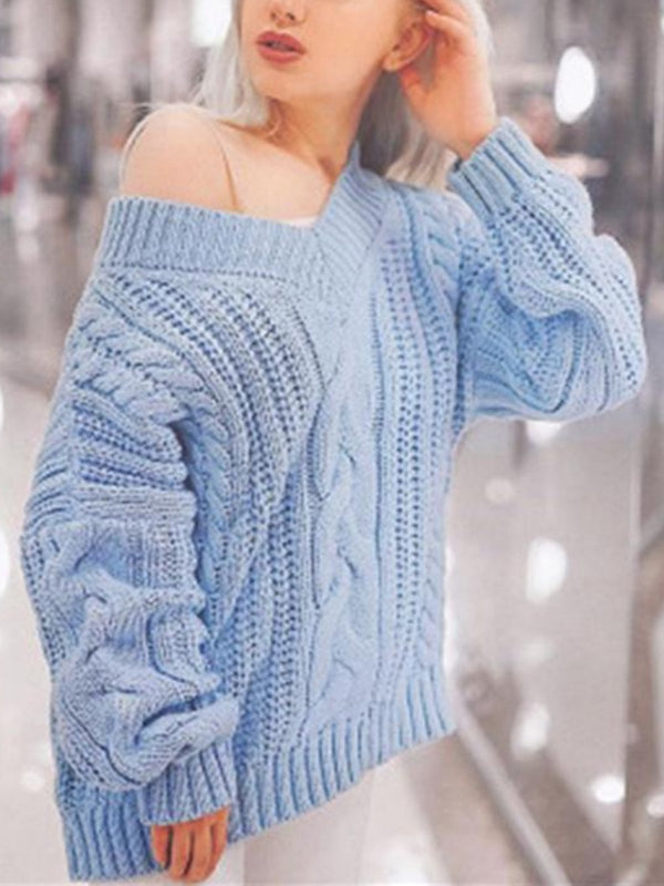 Women V neck Long Sleeve Casual Solid Knitted Sweater