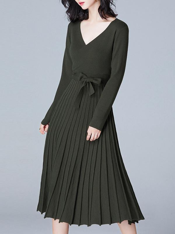 Women Long Sleeve Sweater Dress Pleated Dress