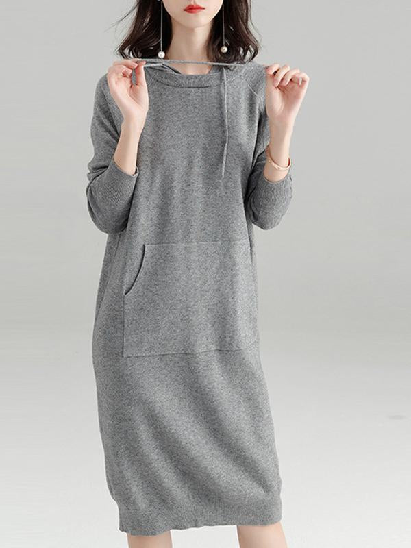 Women Plain Hooded Knitted Sweater Dress Midi Dress