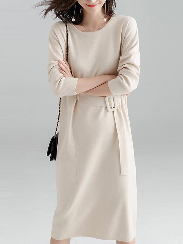 Women Plain Long Sleeve Sweater Dress With Bucket