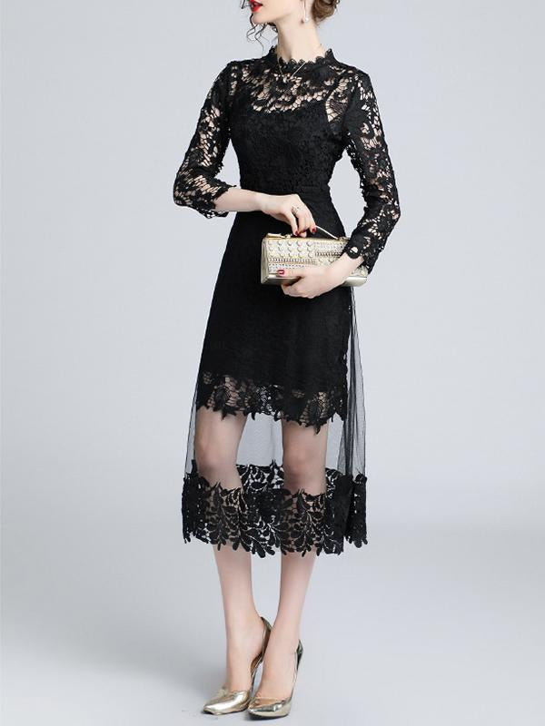 Black Women Long Sleeve Lace Spliced Dress Two Piece Set Outfits