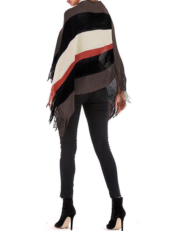 Women Fashion Contrast Color Tassels Cloak Cape Coats