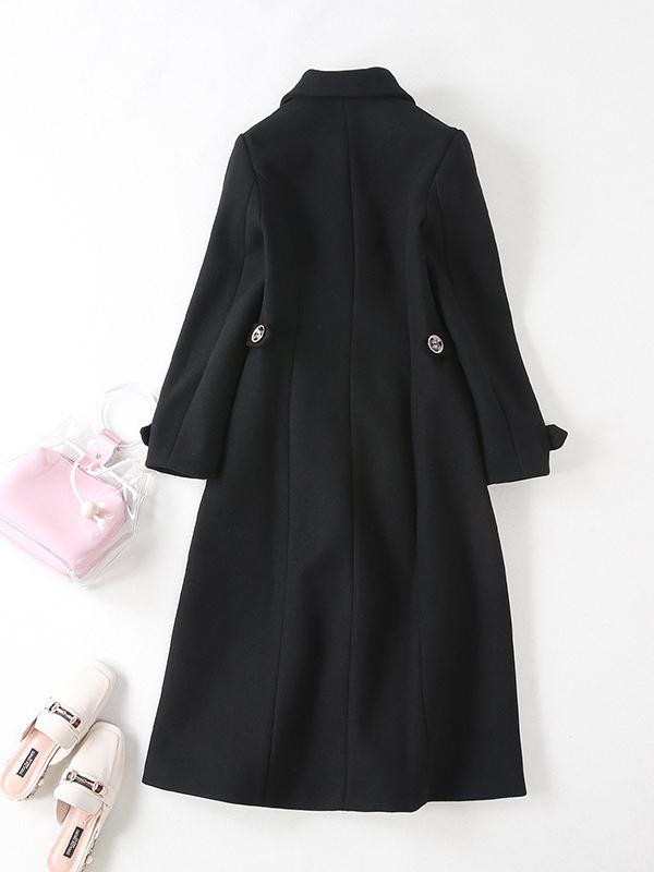 Black Women Long Sleeve Slim Parka Wool Coat