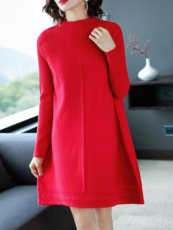 Women Plain Long Sleeve Knitted Sweater Dress