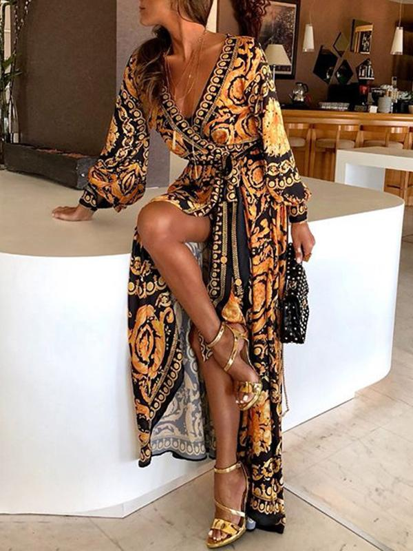 Women Retro Print Deep V-neck Dress Long Maxi Dresses