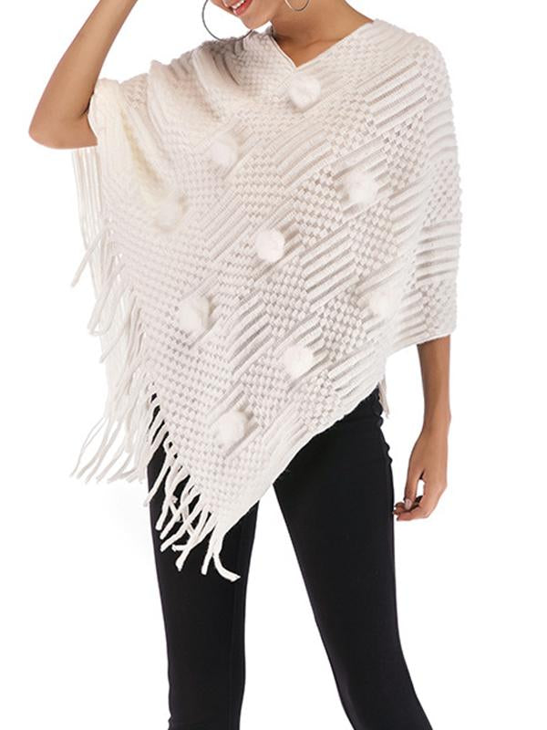 Women V-neck Irregular Batwing Sleeve Knitted Poncho Capes