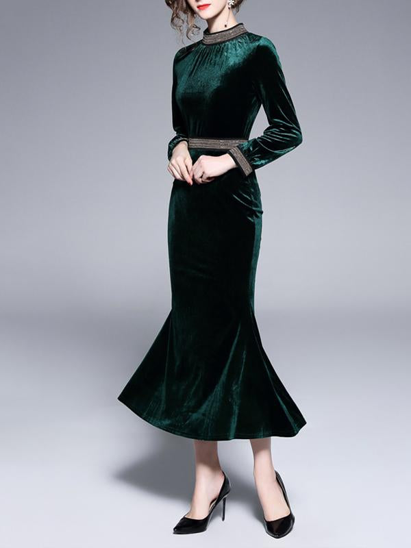 Autumn Winter Women Elegant Mermaid Dress Long MaxI Dresses