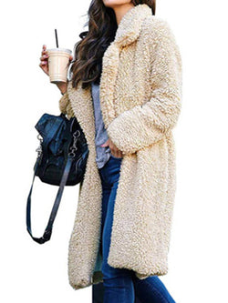 Women Shawl Collar Casual Solid Long Sleeve Faux Fur Parka Coat