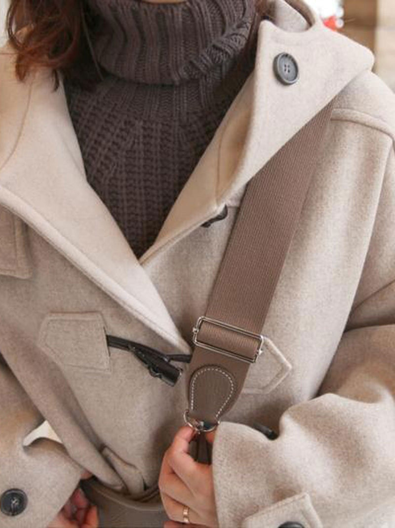Light Grey Long Sleeve Hooded Buttons Pockets Coats