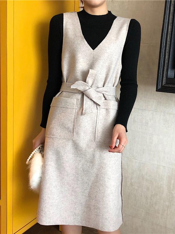 Women Winter Casual Long Sleeve Kniited Shirt with Suspender Dress Two-pieces Outfits