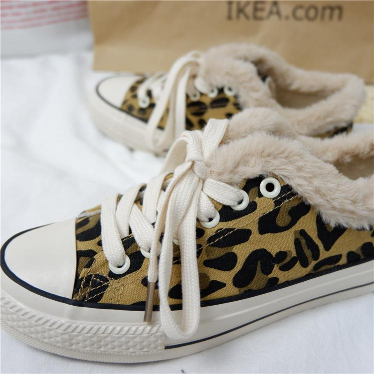 Fashion Leopard Women Flat-bottomed Shoes with Fluff and Warmth