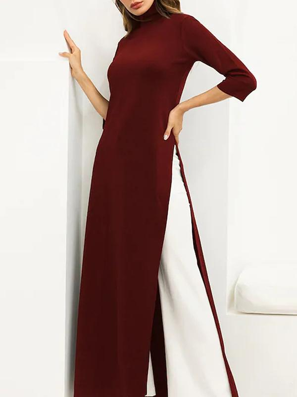 Women Split Side High Neck Maxi Dress